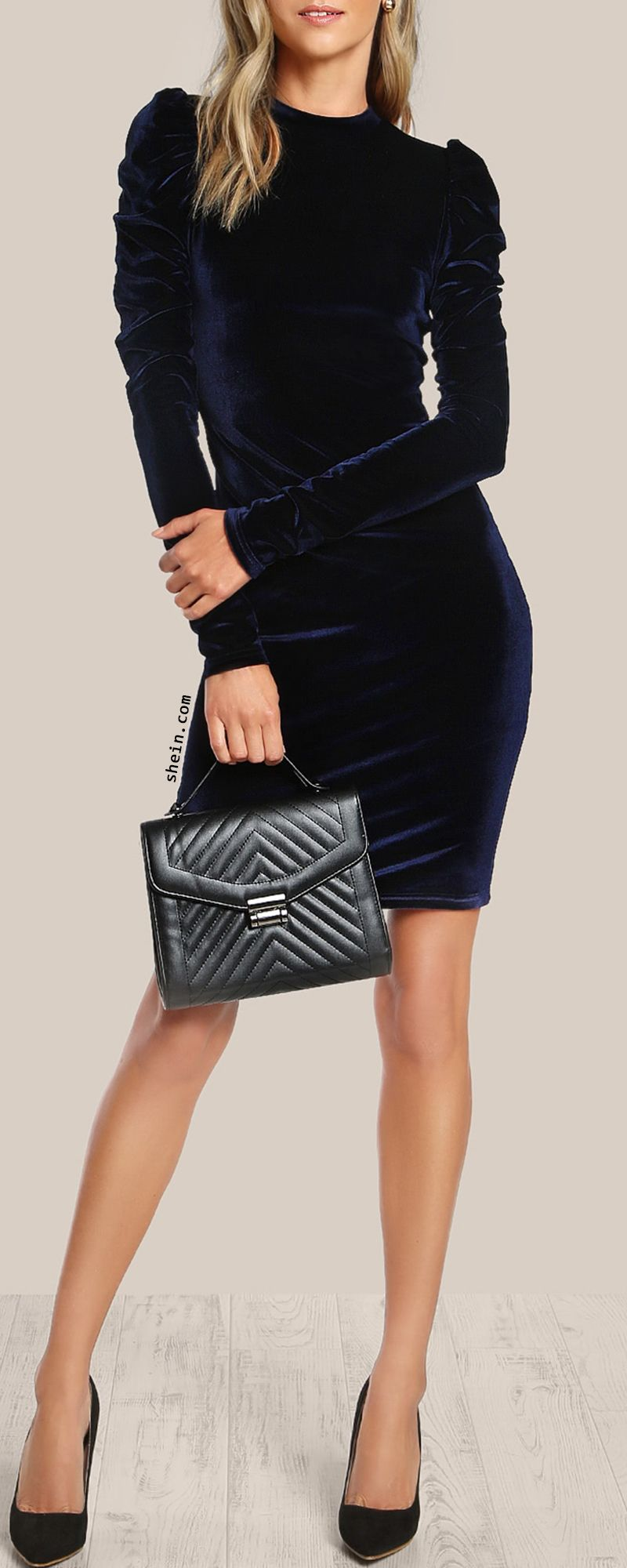 752e5a4b92e SHEIN Puff Sleeve Velvet Pencil Dress