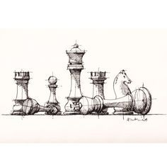 #chess pieces #sketch #drawing   by Dan Hogman