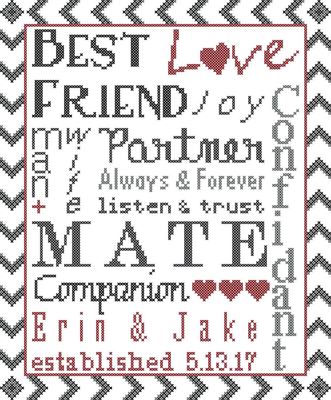 Subway Art Cross Stitch/Wedding Cross Stitch Pattern/Wedding Words ...