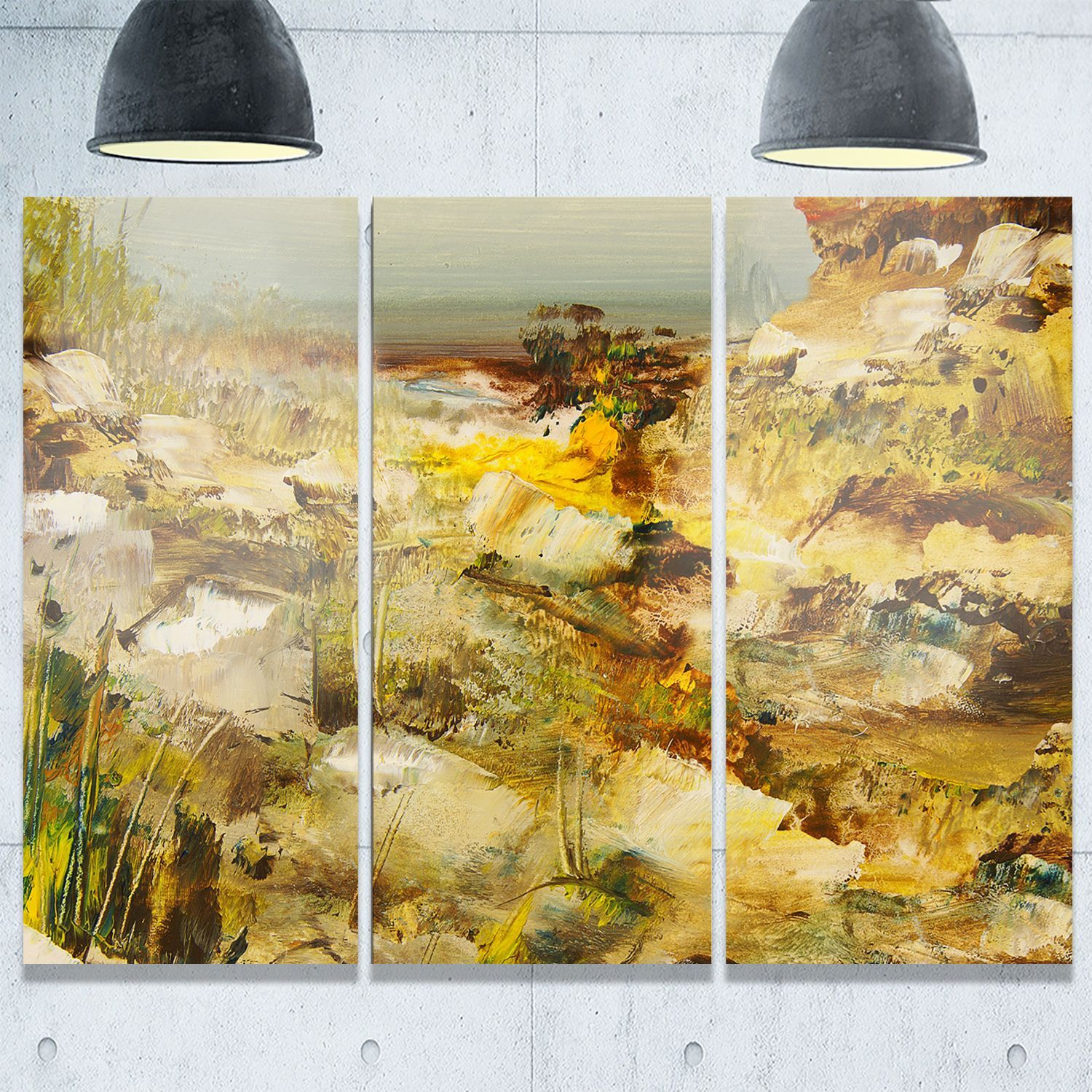 Stones Heavily Textured - Landscape Painting Glossy Metal Wall Art ...