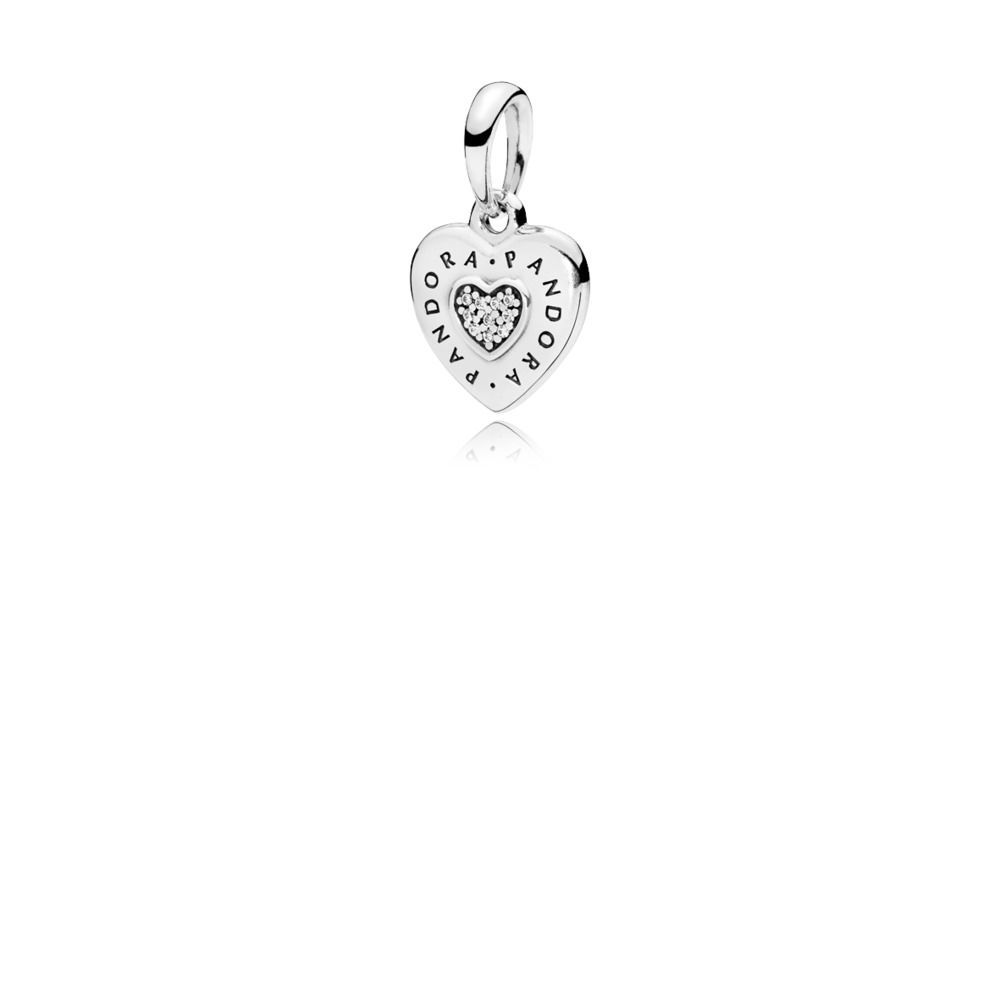 Pandora Logo Heart Necklace Pendant Sterling Silver Pandora Logo Heart Pendant
