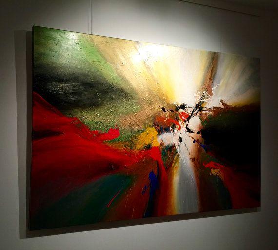 Tr s grande peinture abstraite par dan bunea 150x100cm ou 60x40in acrylique sur toile - Peinture glycero ou acrylique ...