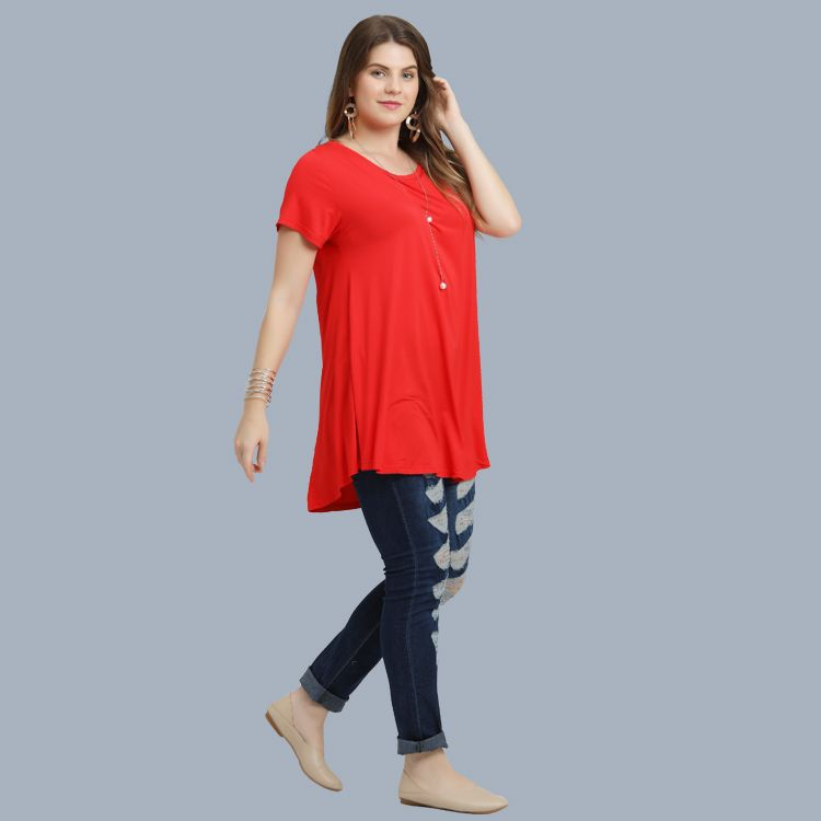 Larace Wholesale Tunic Tops Short Sleeve Plain Shirts for Leggings