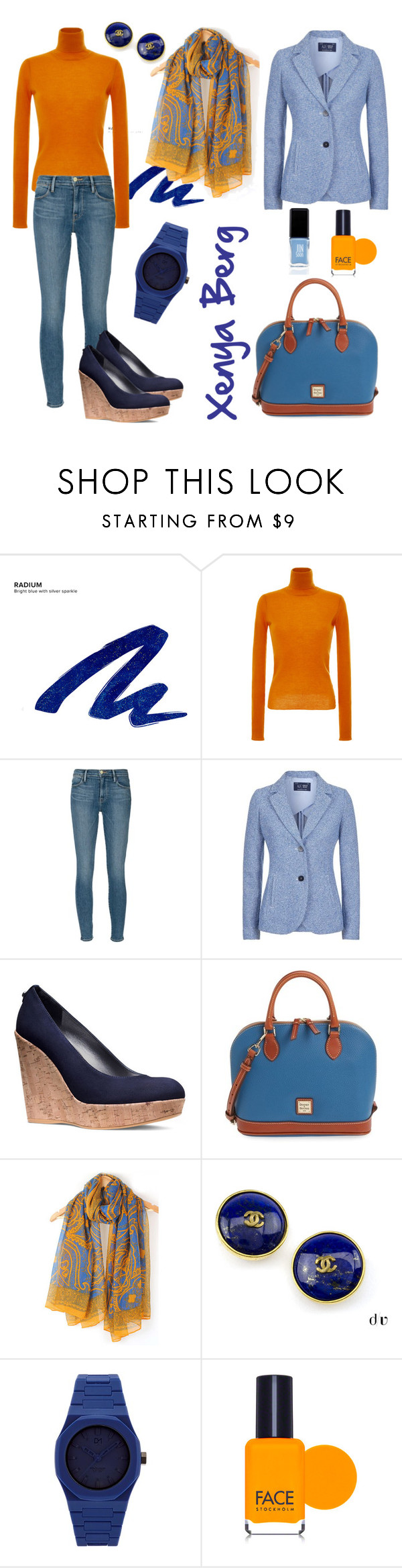 """#комплементарная схема #verysmartcasual"" by lady-sybill-vimes on Polyvore featuring мода, Urban Decay, Carven, Frame Denim, Armani Jeans, Stuart Weitzman, Dooney & Bourke, Chanel, d1 Milano и FACE Stockholm"