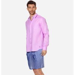 Photo of Pronti da indossare da uomo – Camicia da uomo in lino tinta unita – Camicia – Caroubis – Viola – 4xl – Vilebreq