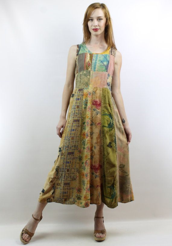 100972029eb Vintage 90s Patchwork Hippie Boho Midi Dress