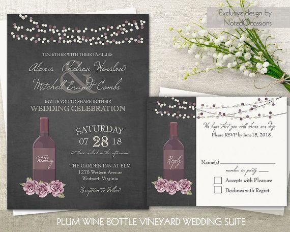 Vineyard Wedding Invitation Set Rustic Winery Wine Bottle
