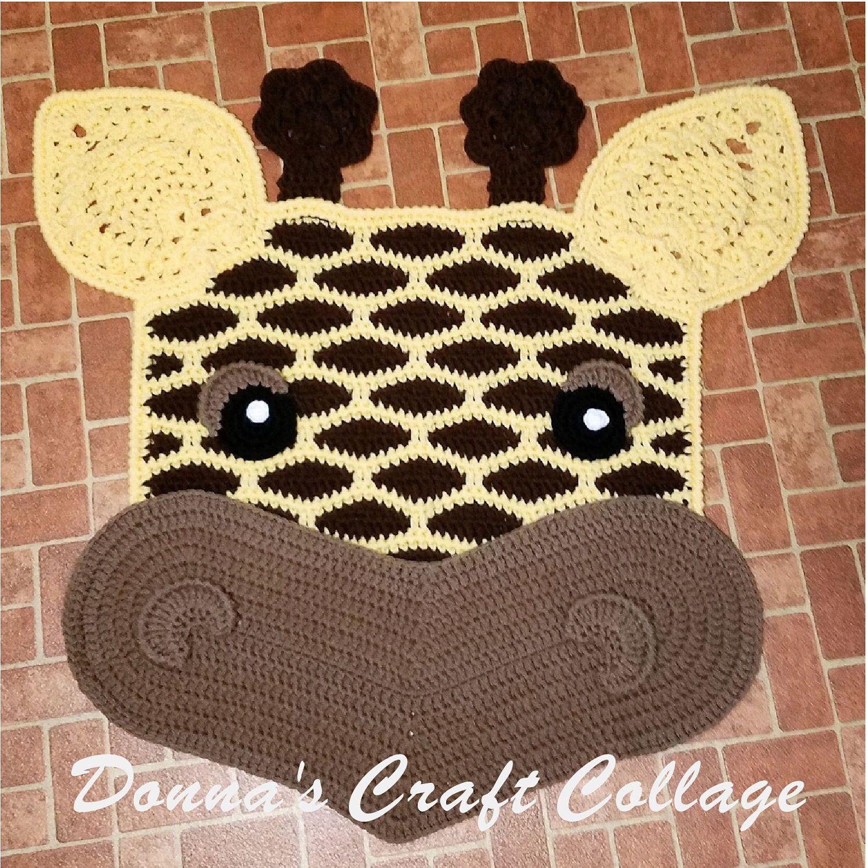 Giraffe Crochet Rug Giraffe Rug Nursery Rug Safari Theme