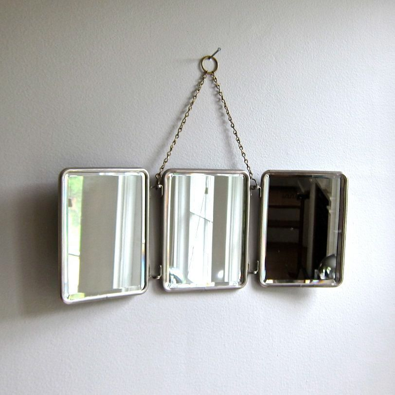 Folding Travel Mirror For Hanging With Nickel Plated Brass Frame
