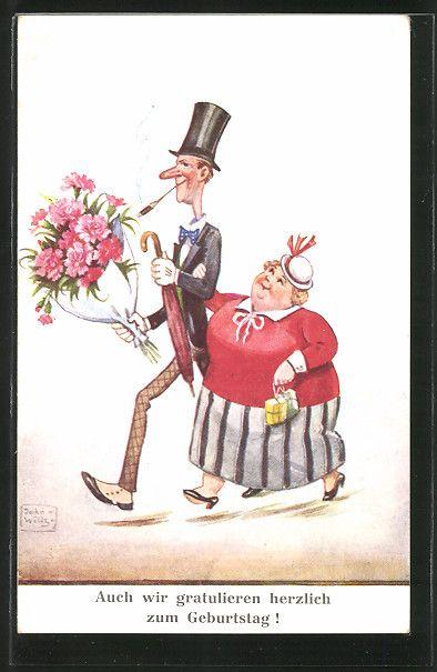 Künstler-AK John Wills: grosser Mann und kleine Frau mit einem Blumenstrauss…