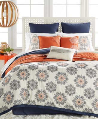 Marla 10-Pc. Embroidered King Comforter Set $360.00 Featuring smooth, cozy fabric and an allover scroll-medallion design embroidered with cool blue and orange hues, this Marla 10-piece king comforter set brings your bedroom to life with enhanced modern style and comfort.