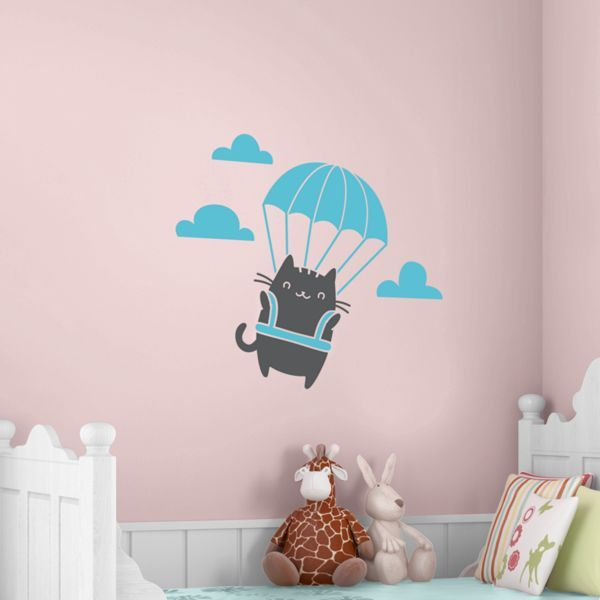 Cat Parachuting Wall Decals Animal Wall Decals Wall Decals Cat Wall