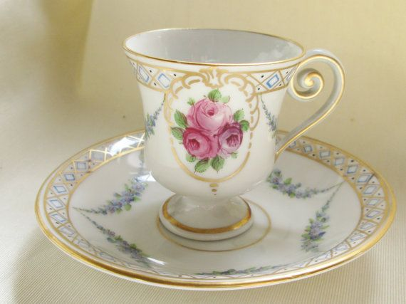 "1960s German Hand Painted Demitasse Cup/Saucer,Rose Motif, Gold Trim,2 1/2""(6cm)H,4 1/4""(10.5cm)W.Ships Worldwide 20.80,Can 13.35,US 9.80"