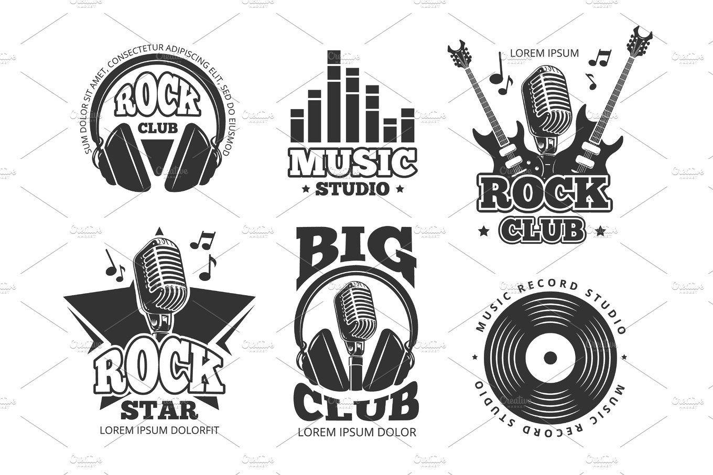 Retro Audio Record Studio Sound Vector Labels Badges Logos Emblems Ad Affiliate Vector Sound B Record Label Logo Vintage Rock Recording Studio Design