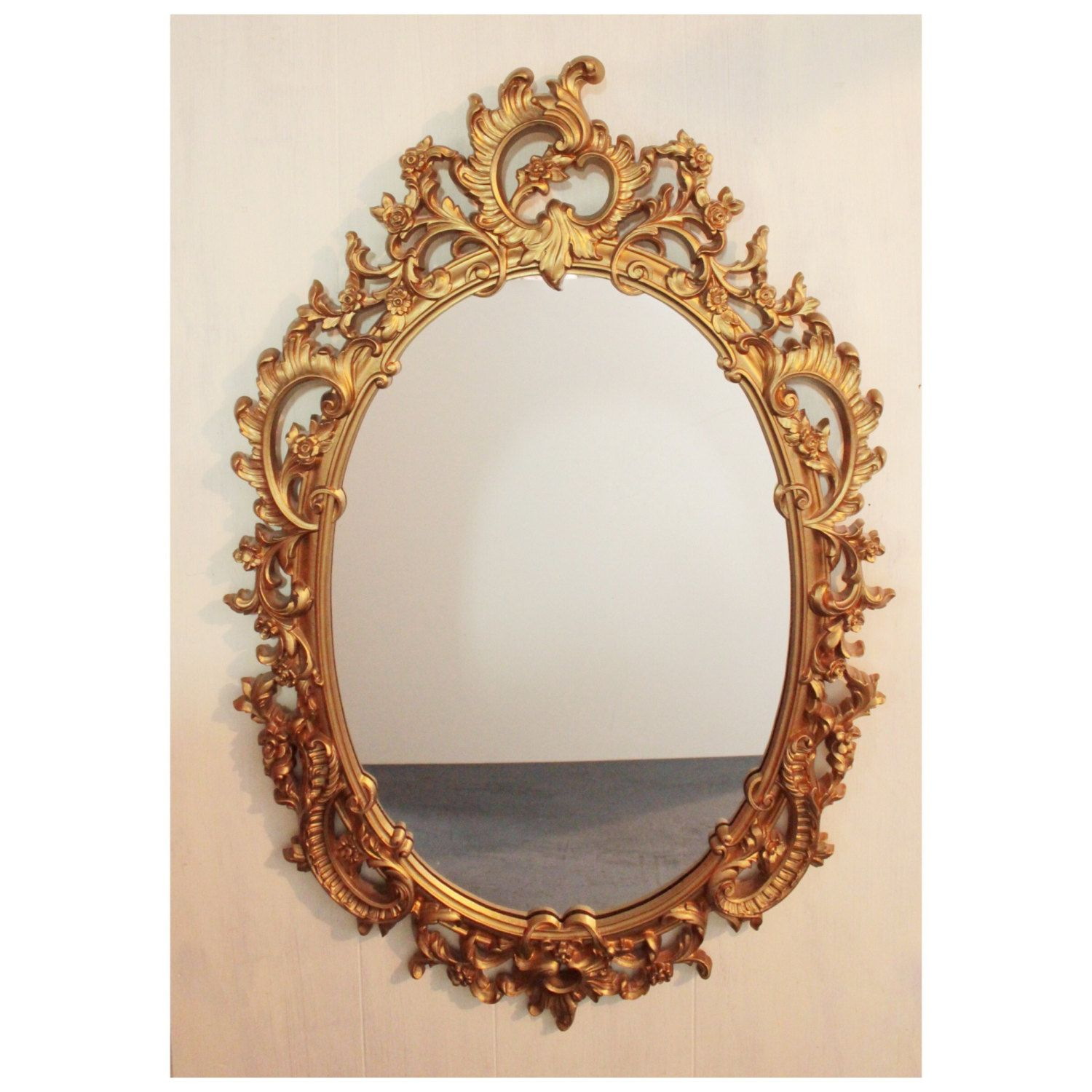 Large gold mid century wall mirror ornate oval framed mirror large gold mid century wall mirror ornate oval framed mirror hollywood regency by ninedoorsvintage amipublicfo Image collections