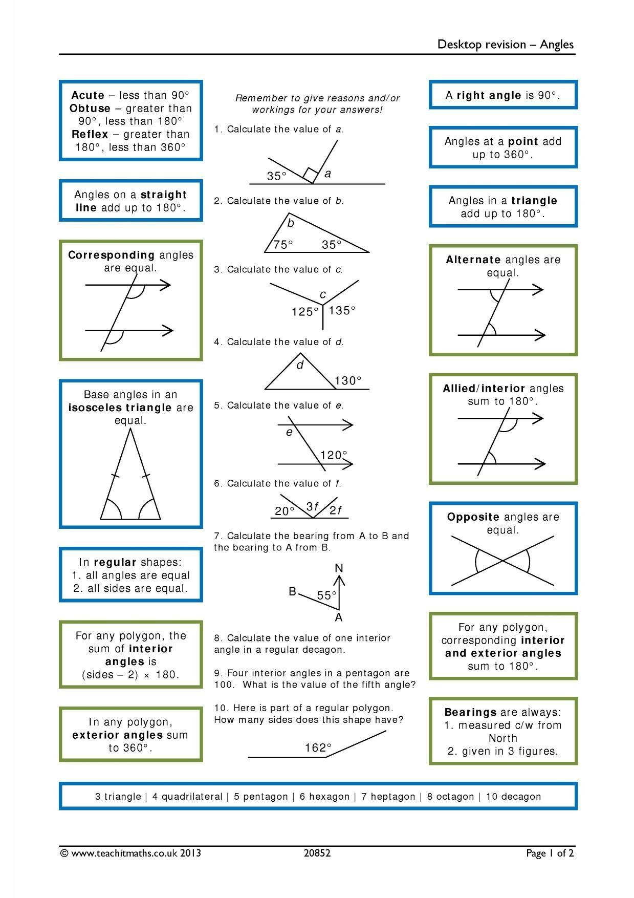Angles In Polygons Worksheet Answers   Gcse math [ 1754 x 1239 Pixel ]
