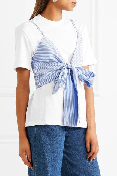 Layered Tie-front Striped Cotton-poplin And Jersey T-shirt - White Msgm Clearance Huge Surprise Wd9VO