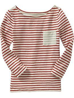 red striped boat neck tee