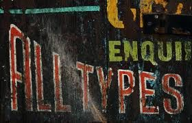"""All Types"" old wall sign fragment.  Love the color."