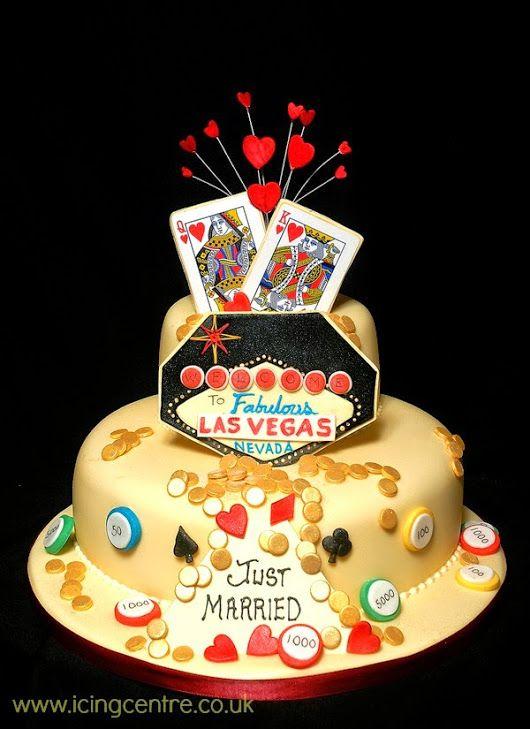 Custom Las Vegas themed wedding cake Unique idea Wedding Cakes