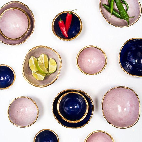 Handmade bowl with 24 carat gold at Att Pynta