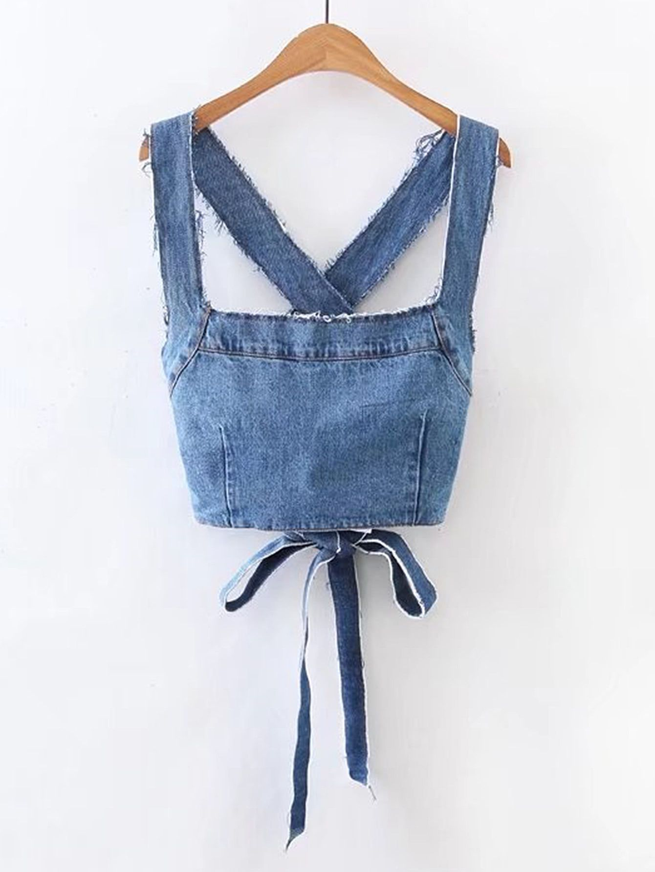 88b890395c Frayed Detail Criss Cross Back Denim Top in 2019