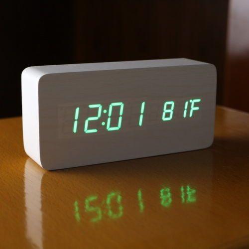 Cube Wooden Clock Voice Control Digital Alarm Clock Snooze Led