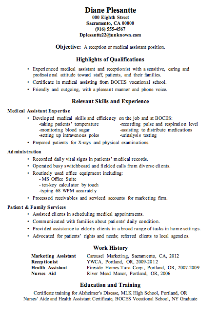 Resume Sample Receptionist or Medical Assistant New job