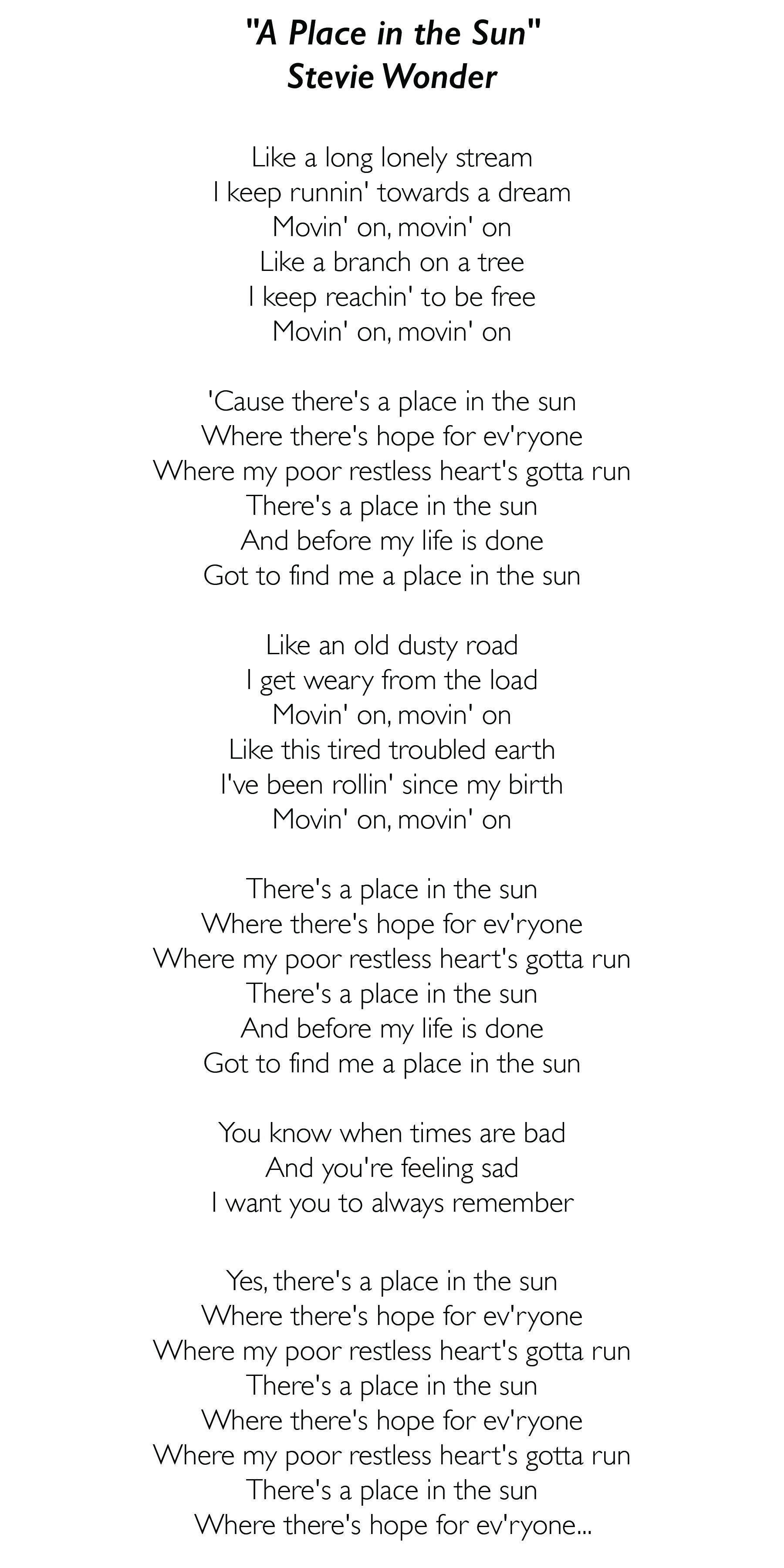 A Place In The Sun By Stevie Wonder Funeralmusic Jazz Lyrics