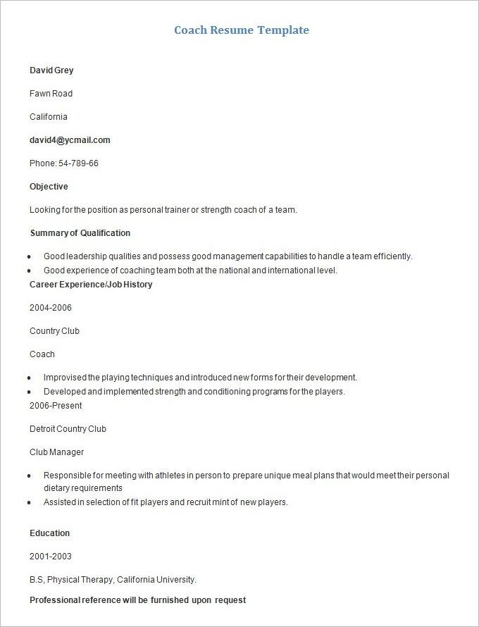 Sample Coach Resume Template , Mac Resume Template \u2013 Great for More
