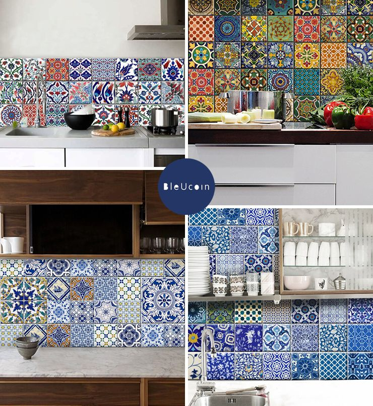 BleUcoinu0026 Temporary Tile Decals In Traditional Turkish, Mexican, And Indian  Motifs Are A Nice Solution For Creating A Kitchen Backsplash In A Rental.