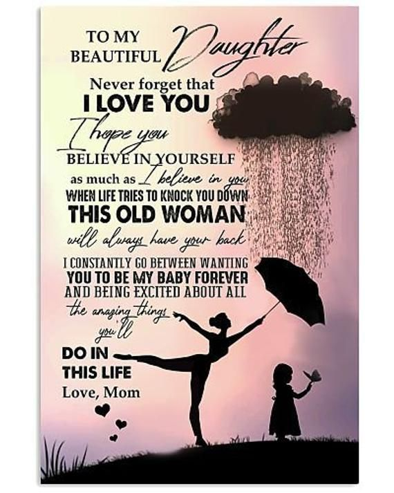 Mother Day To My Beautyful Daughter I Love You Poster Home Decor Wall Art 17x24 Love Mom Quotes Daughter Love Quotes Mothers Love Quotes