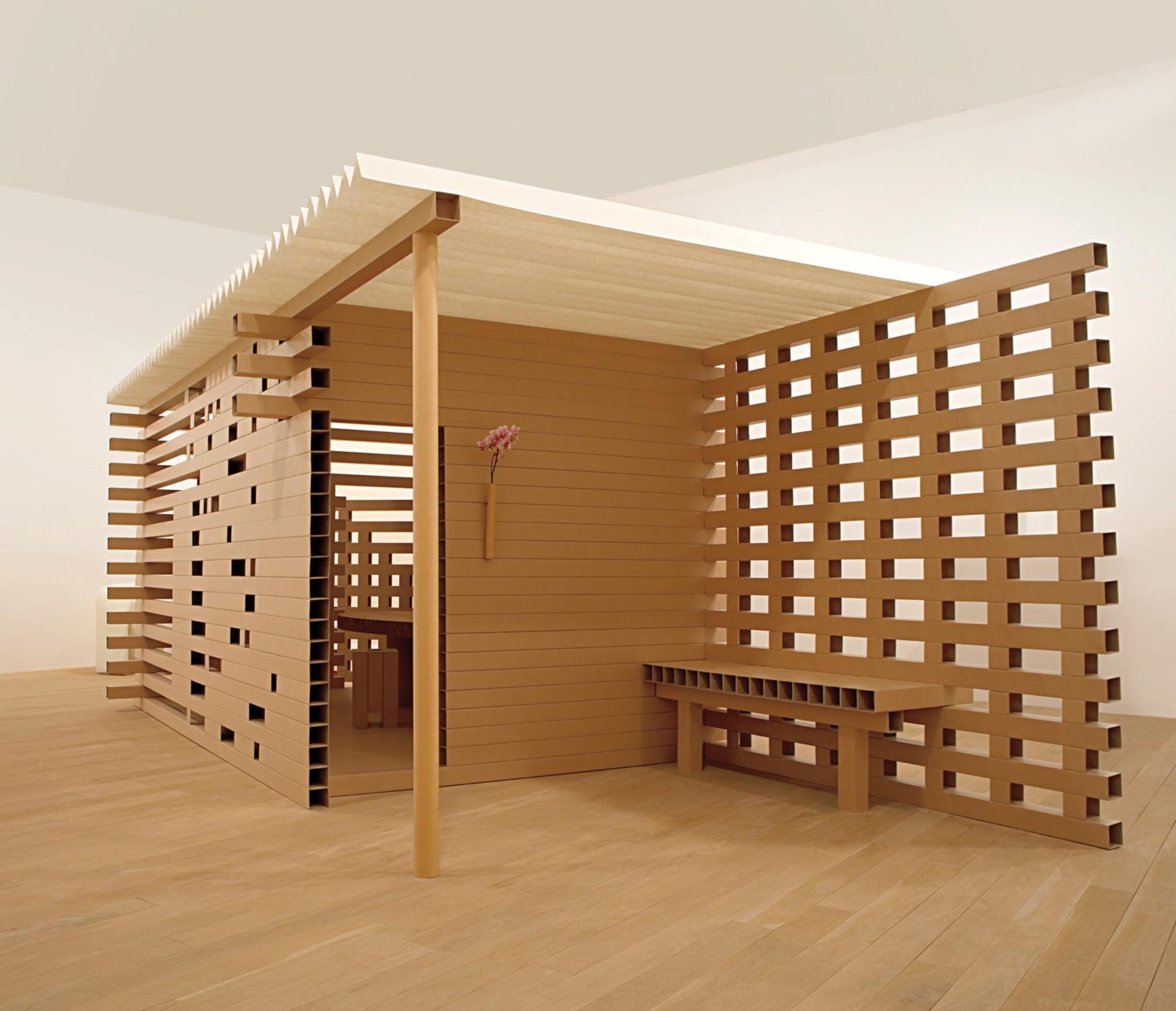 Shigeru Ban 'PTH-02 Paper Tea House', 2006  Paper tubes, Japanese paper, honeycomb cardboard. 200 x 538 x 260 cm (78 3/4 x 211 3/4 x 102 3/8 in.) Manufactured by Shigeru Ban Architects Europe, France.