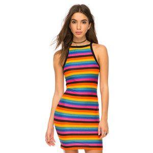 Black bug yellow horizontal stripes dress