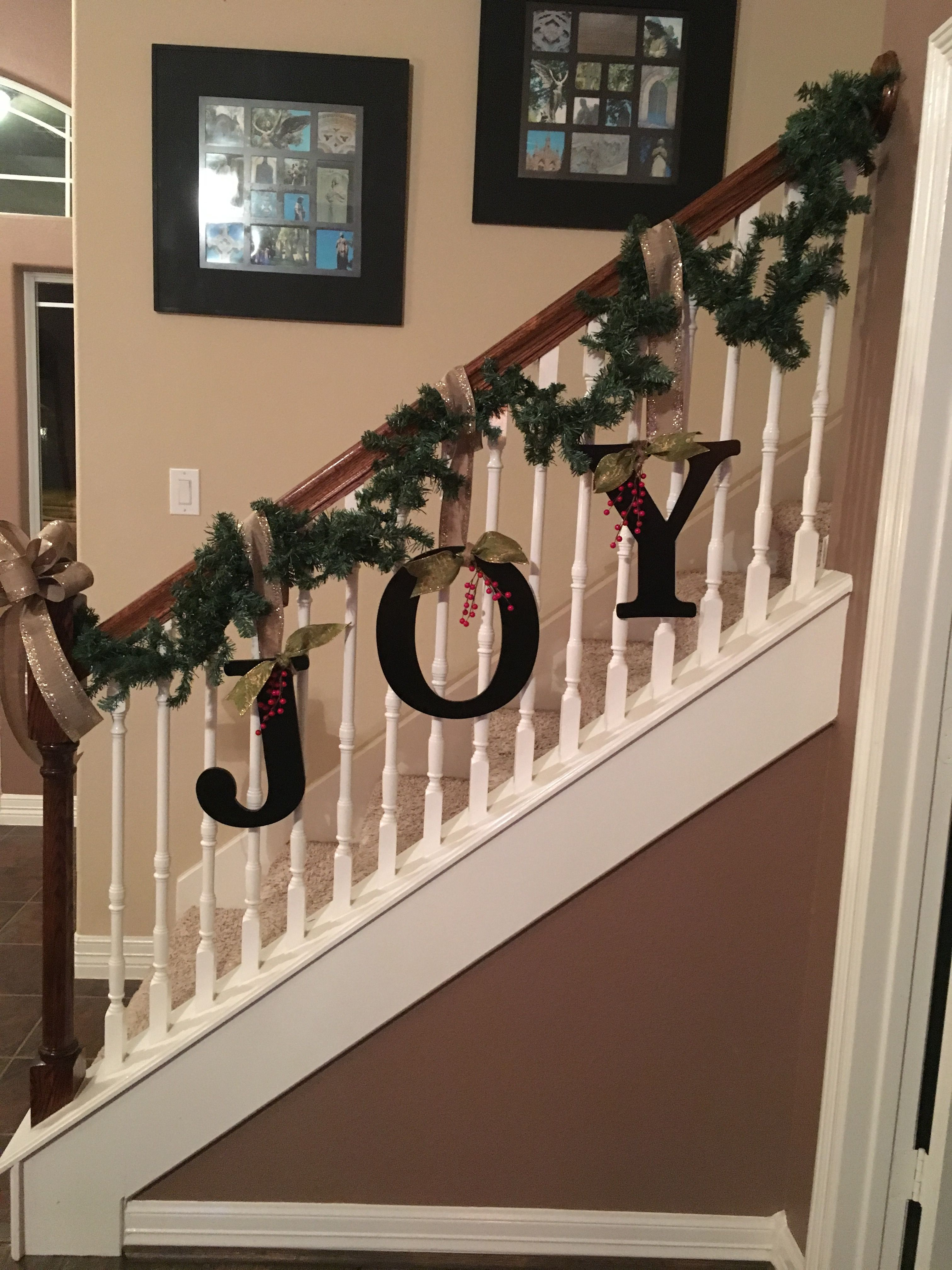 Revamp on banister for christmas this year teamlejeune for How to decorate a banister