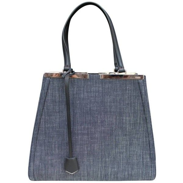 157dd42d34ce Preowned 2014 Fendi Denim 3jours Tote Bag (€1.335) ❤ liked on Polyvore  featuring bags
