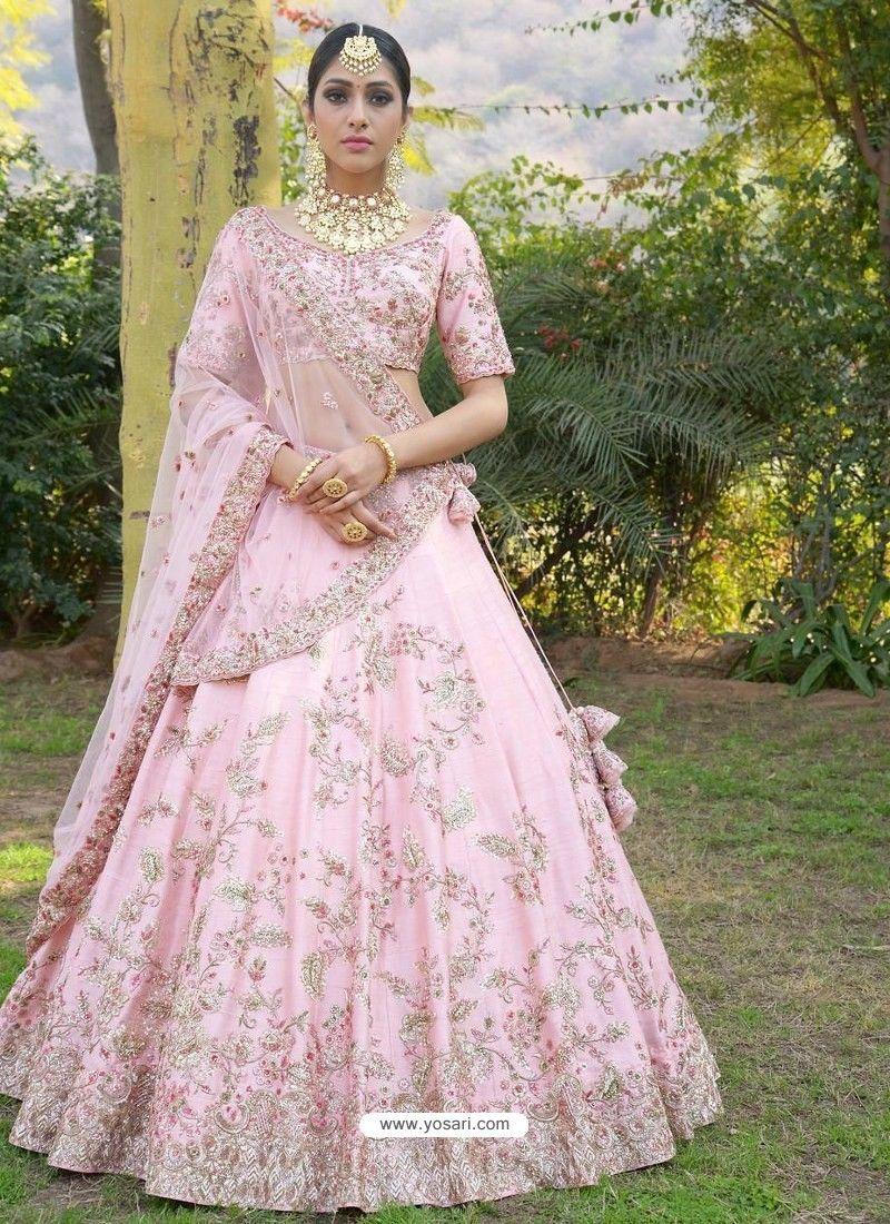 4c951d306b Baby Pink Silk Zari Embroidered Designer Wedding Lehenga Choli in ...