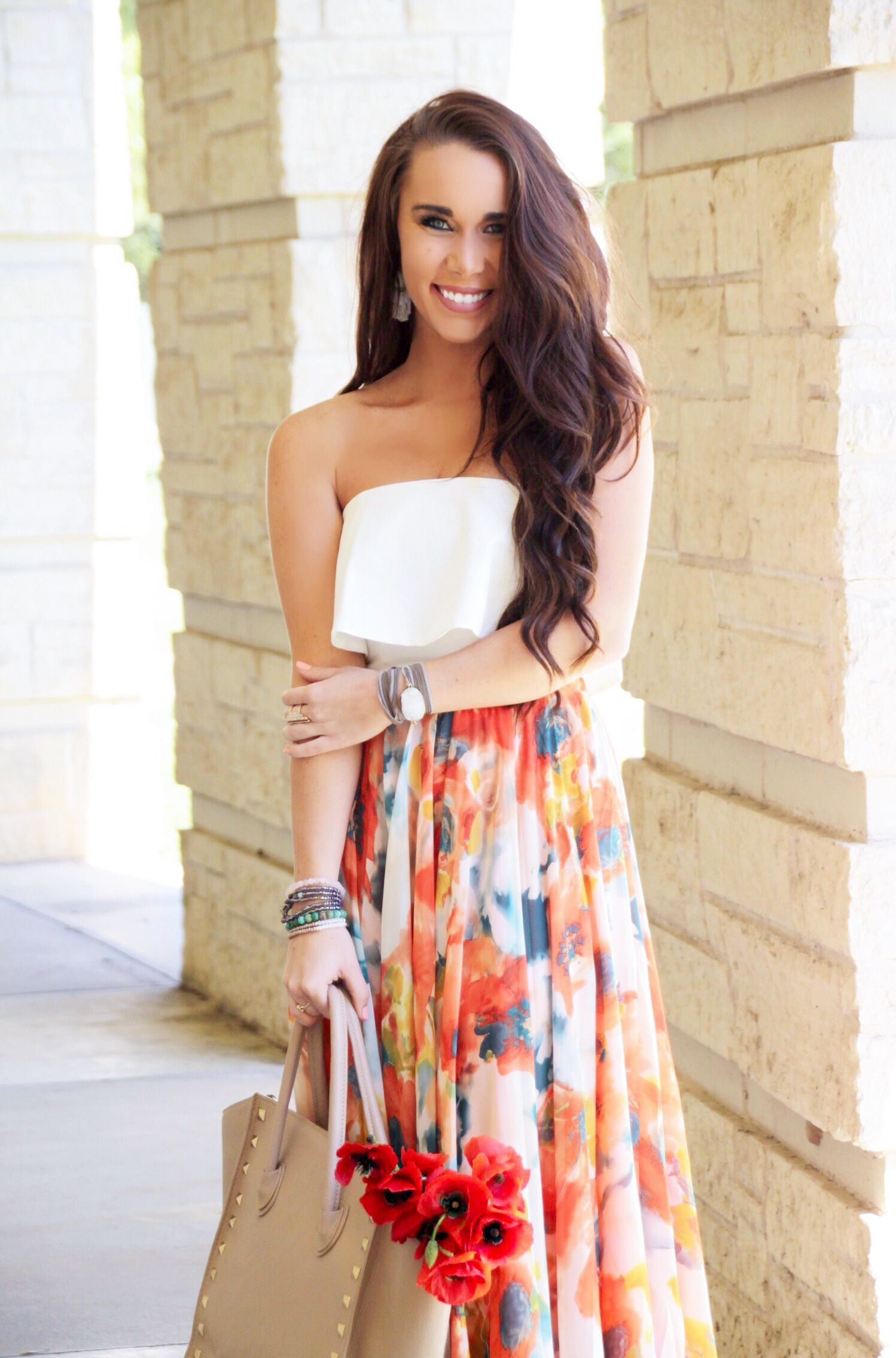 Watercolor Floral Maxi Skirt Under $60  Spring Outfit