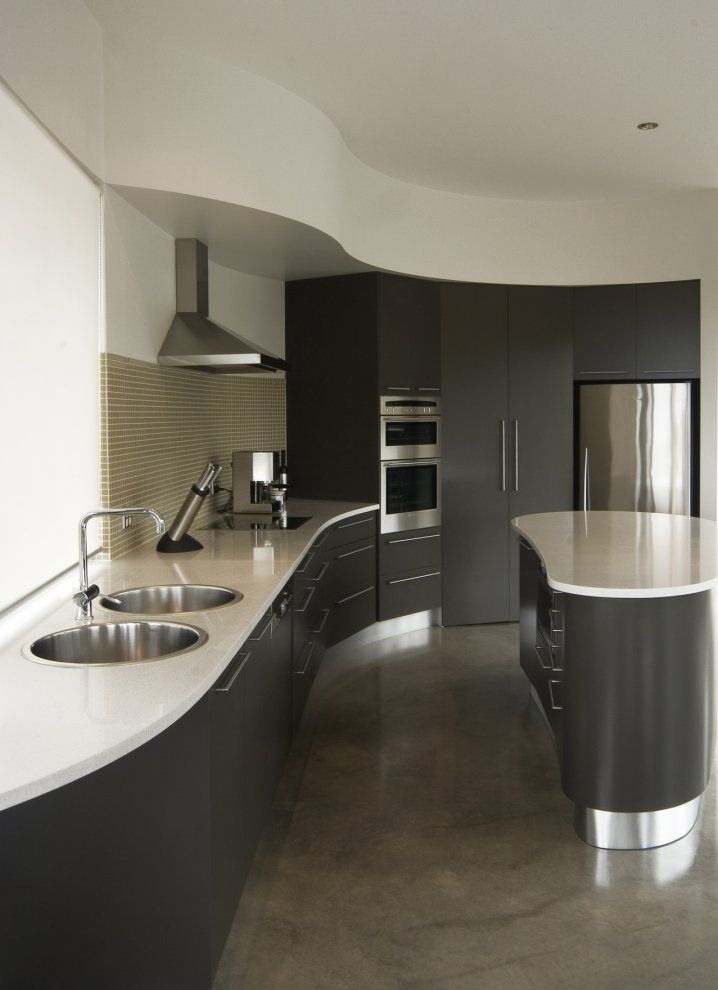 Elegant Kitchen Countertops At Kirk House Australia Designed By Max Pritchard Architects Curved Kitchen Contemporary Kitchen Outdoor Kitchen Design