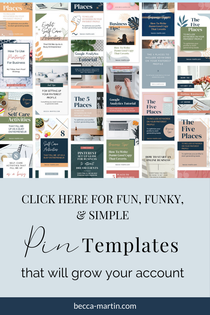 Pin Template Bundle (Save 45%) — Becca Martin Creative Co. in 2020 | Pin  template, Pinterest for business, Templates
