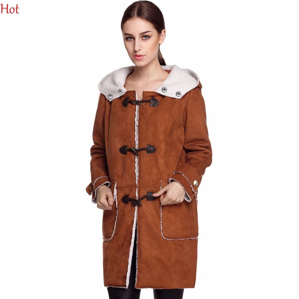 Click to buy ucuc women leather suede coats warm hooded fleece slim