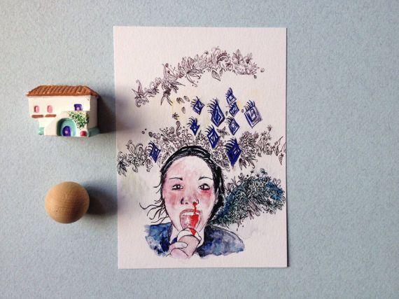 Cartolina splatter horror art regalo ragazza di theberingsea