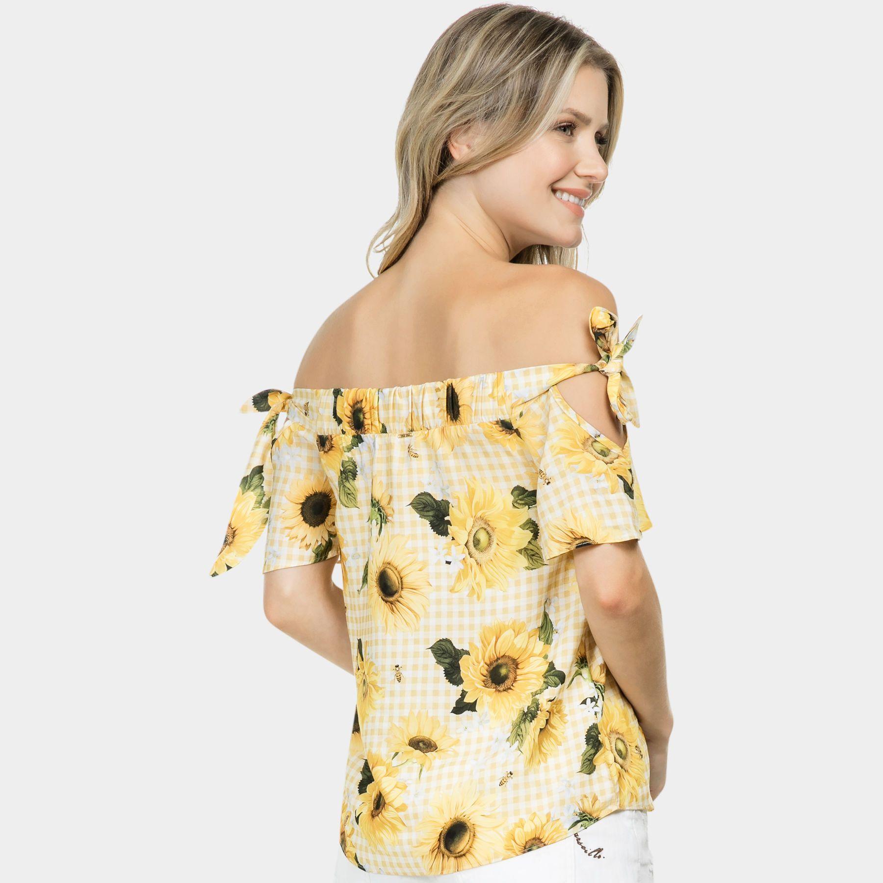 7750a4922 Blusa Ombro a Ombro Laço Tecido Tournesol - Lez a Lez | vestido 2018 ...