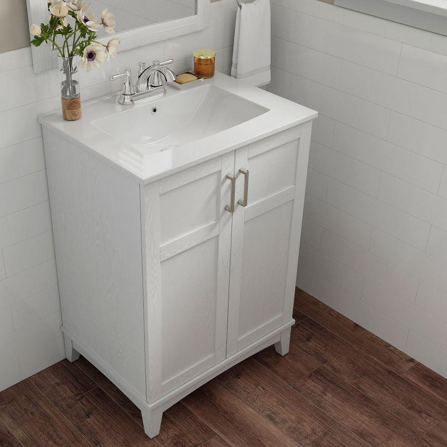 Style Selections 24 In White Oak Single Sink Bathroom Vanity With White Ceramic Top Mirror Included Lowes Com Bathroom Sink Vanity Bathroom Vanity White Vanity Bathroom