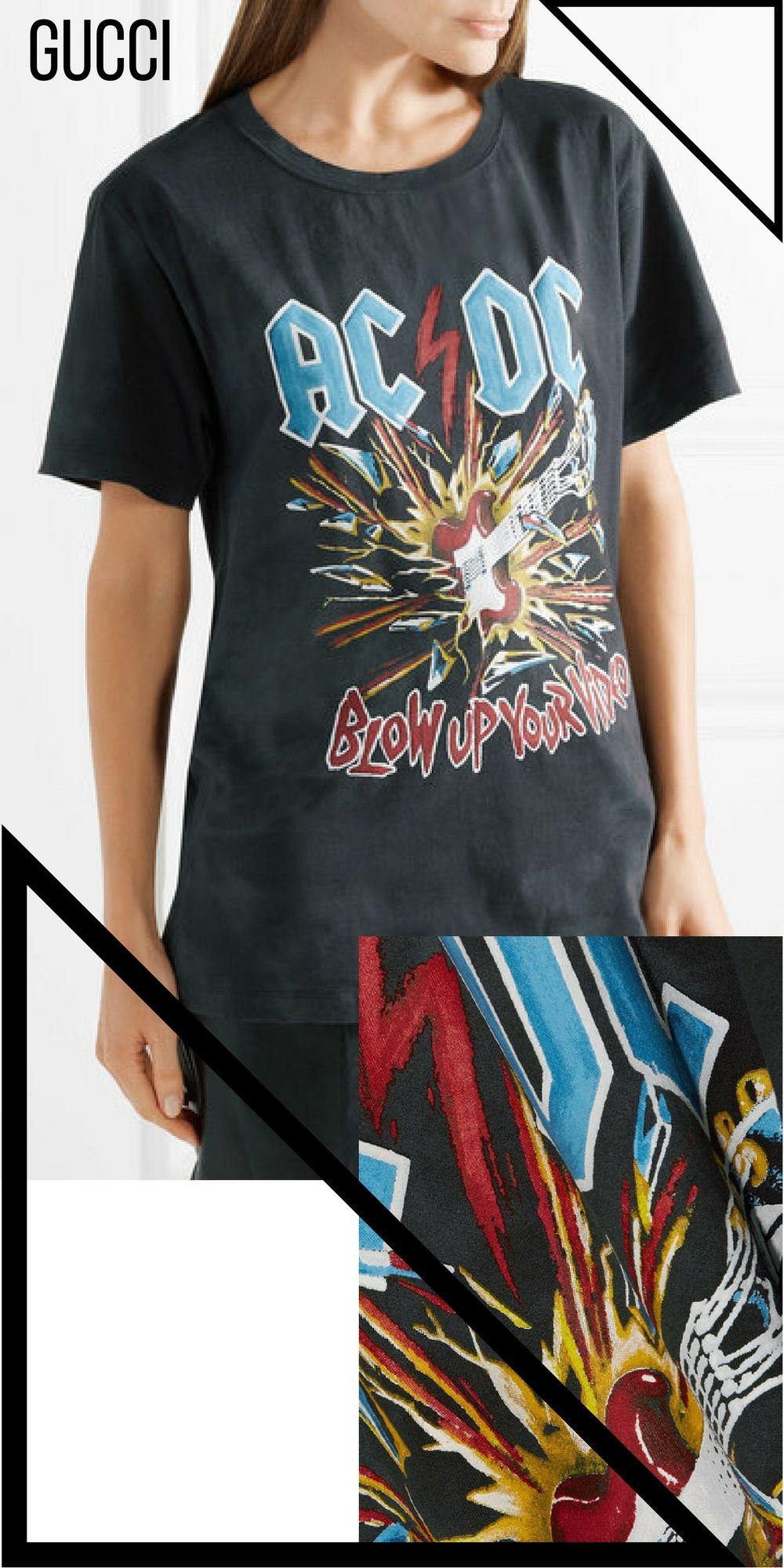 a90184da3055 Gucci - Printed Tie-dyed Cotton-jersey T-shirt - Charcoal, 70s fashion,  band shirt, AC/DC, #ad, #affiliate