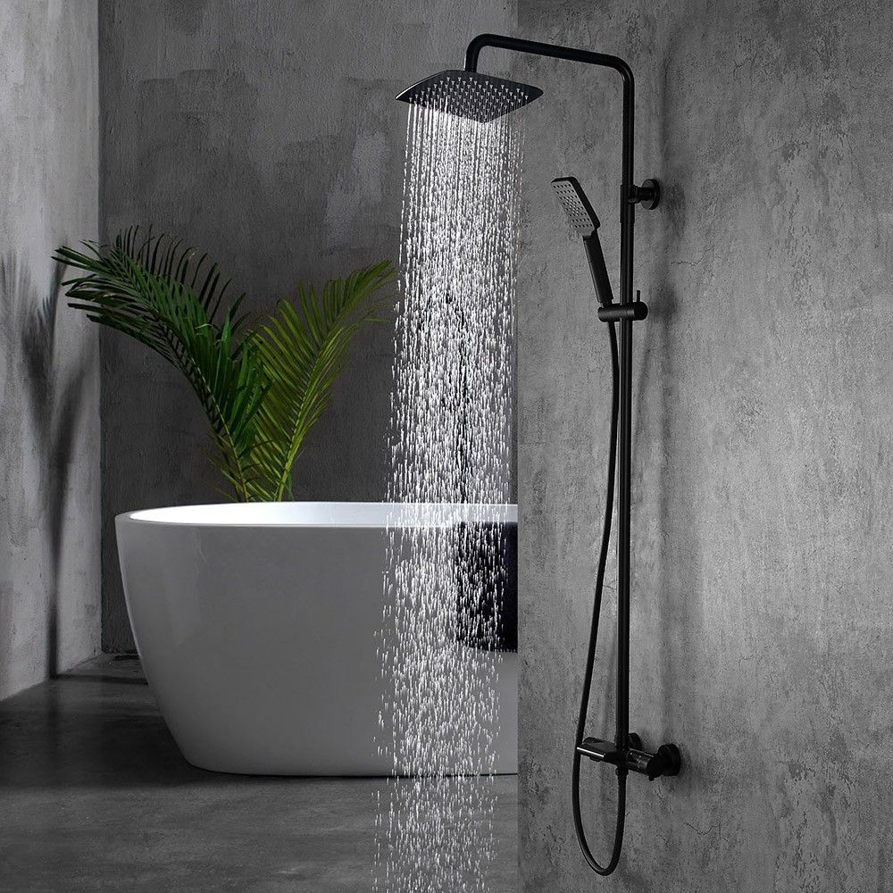 Modern Exposed Rainfall Thermostatic Shower System With Hand Shower Waterfall Tub Spout In Matte Black Shower Systems Waterfall Shower Tub Spout