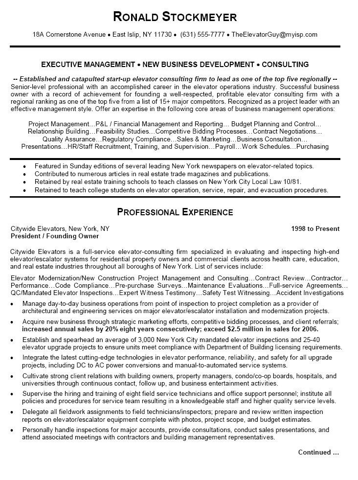 Elevator Mechanic Resume Building Maintenance Technician Best