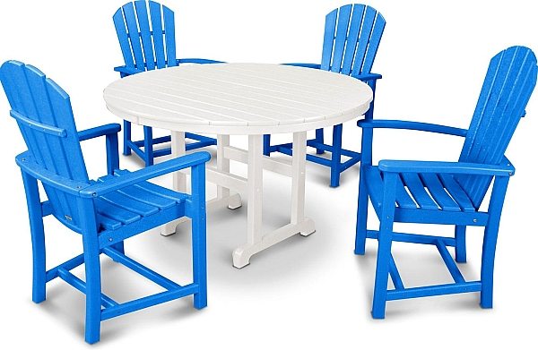 Palm Coast 5 Piece Dining Set Color Pacific Blue And White Outdoor Furniture Sets