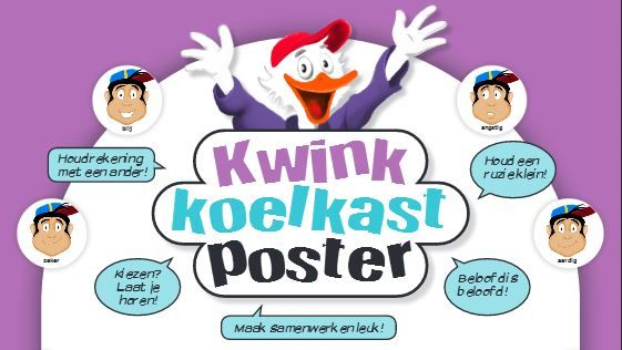 De Kwink koelkastposter. Bekijk de volledige versie op  https://www.kwinkopschool.nl/fileadmin/files/Kwink/website/Kwink_Koelkastposter_jrg3_nr1.pdf  | Poster