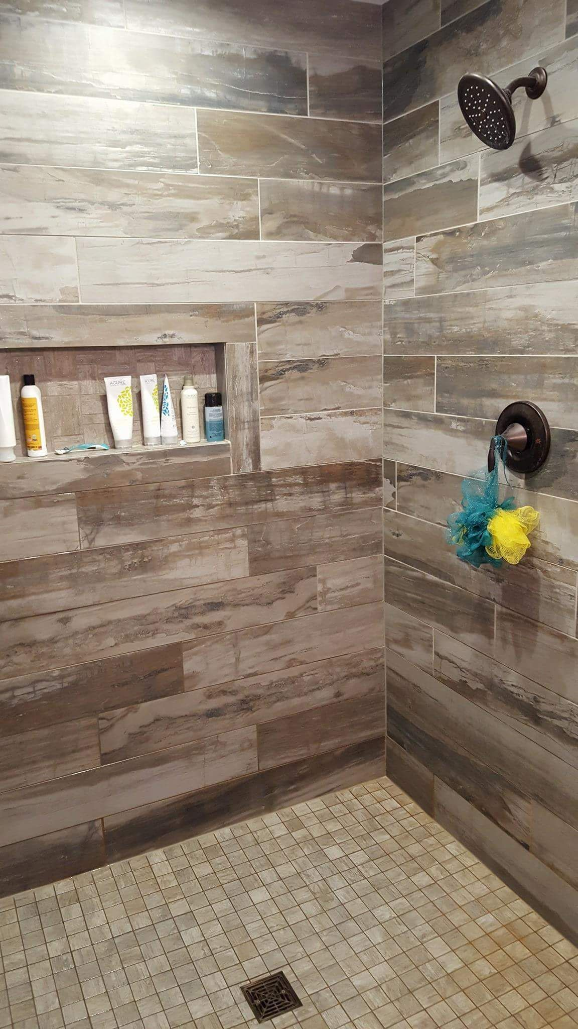 Petrified Wood Musk Installed On Shower Wall Tiles